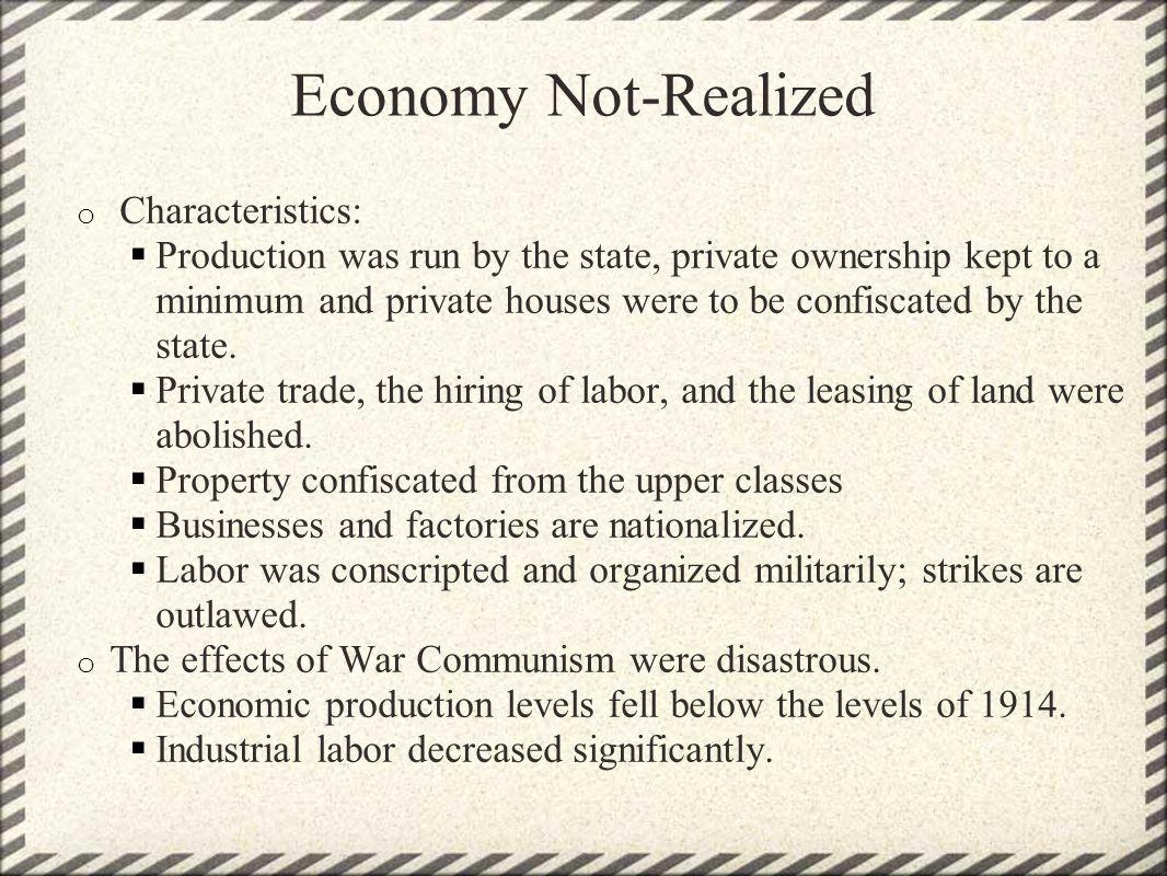 Economy Not-Realized Characteristics: