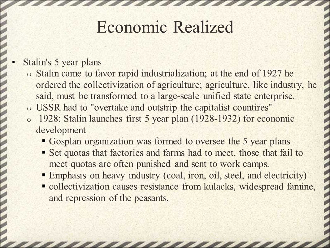 Economic Realized Stalin s 5 year plans