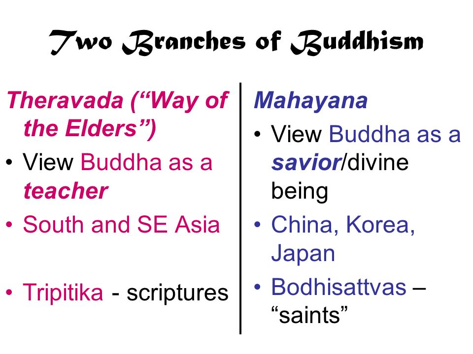 Two Branches of Buddhism
