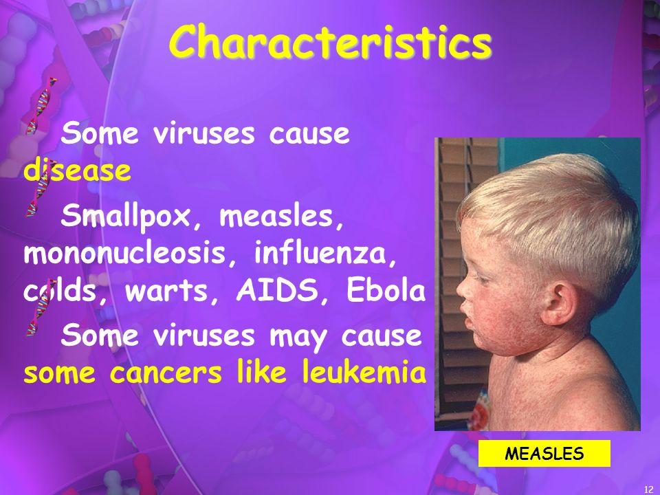 Characteristics Some viruses cause disease