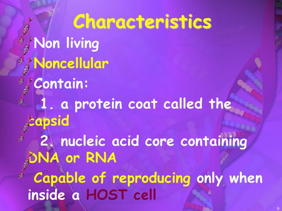 Characteristics Non living Noncellular Contain: