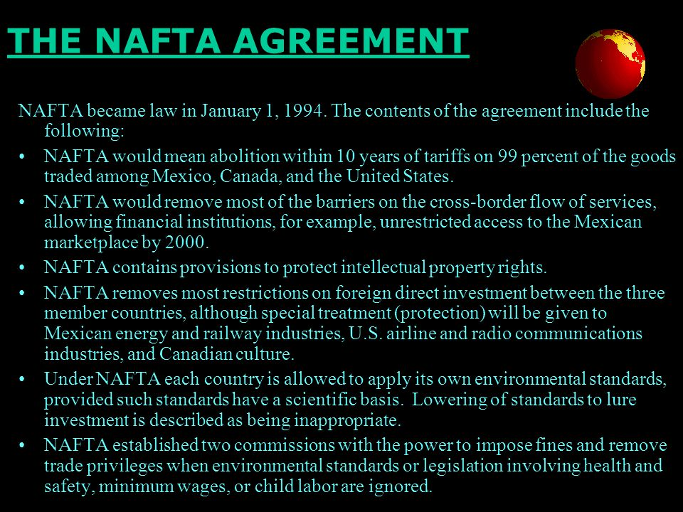 arguments against nafta List of 13 main pros and cons of nafta economy aug 13, 2015 nafta stands for north american free trade agreement it is a treaty made between the united states .