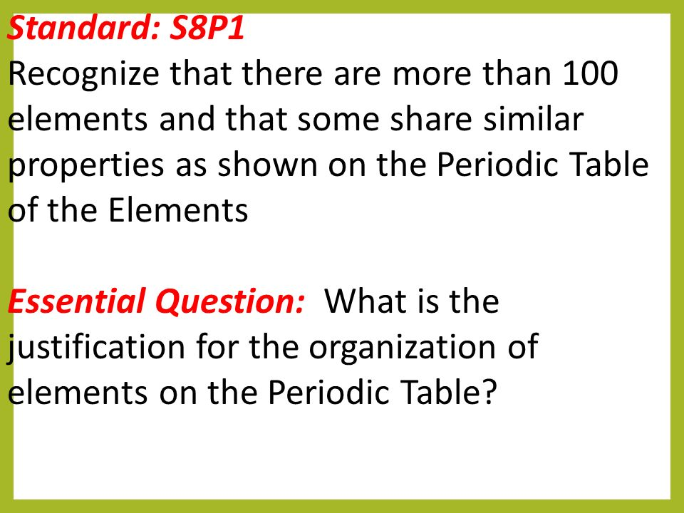 Warm up silently preview the ten brainpop questions ppt for Periodic table 6 mark question