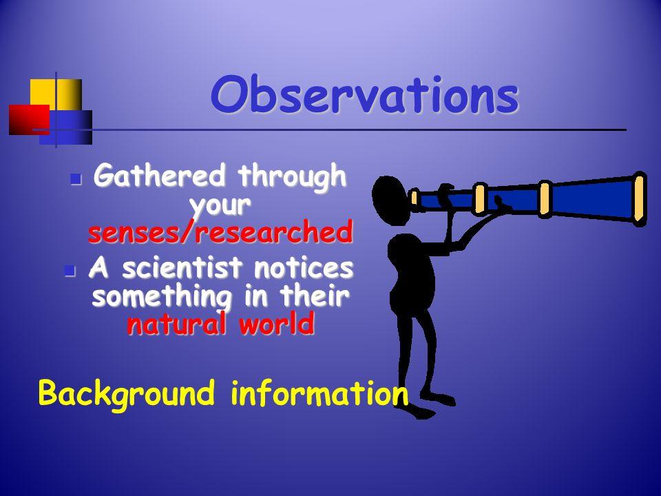 Observations Background information