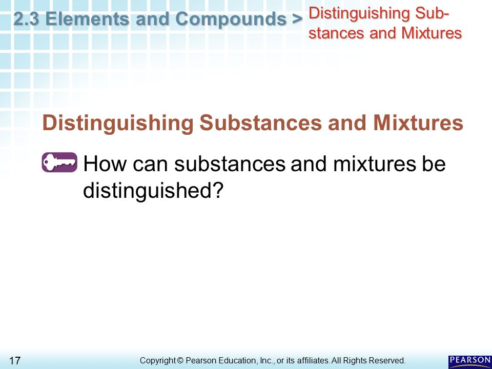 Distinguishing Substances and Mixtures