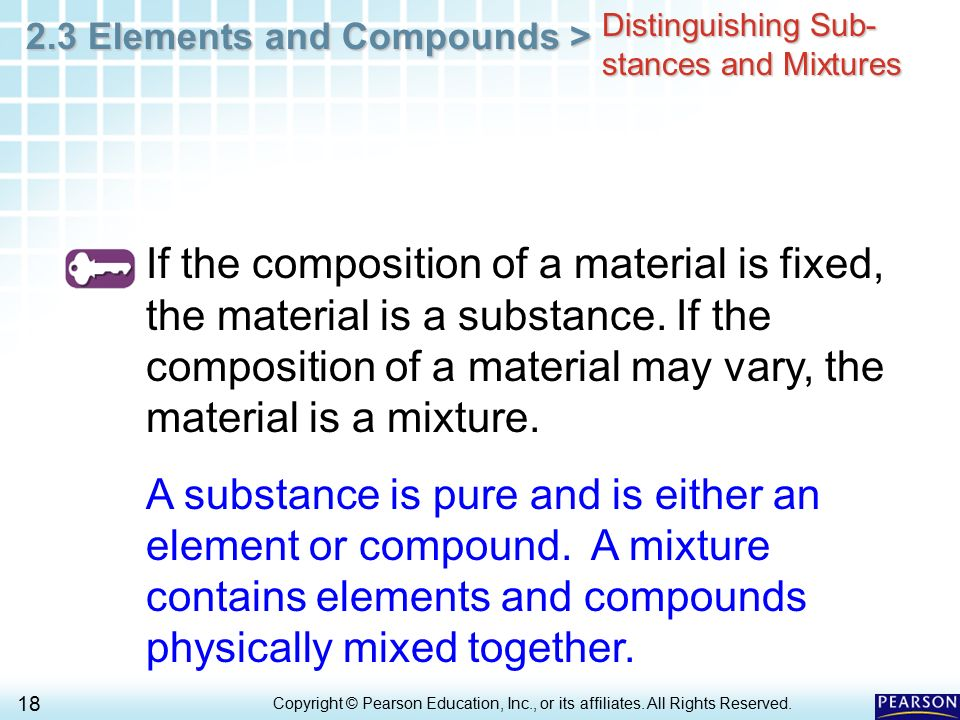 Distinguishing Sub-stances and Mixtures