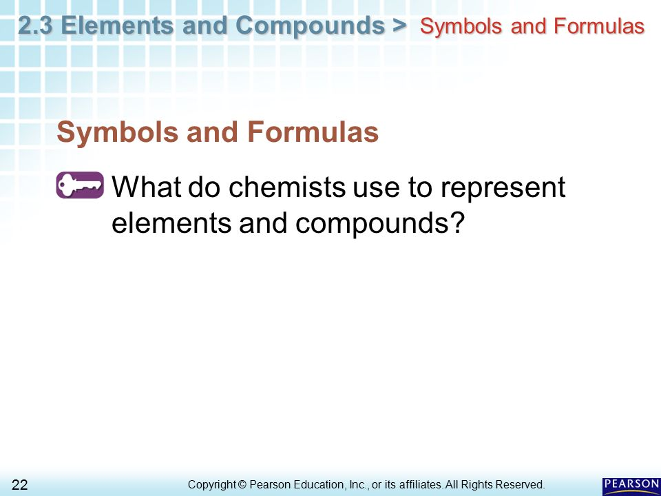 What do chemists use to represent elements and compounds