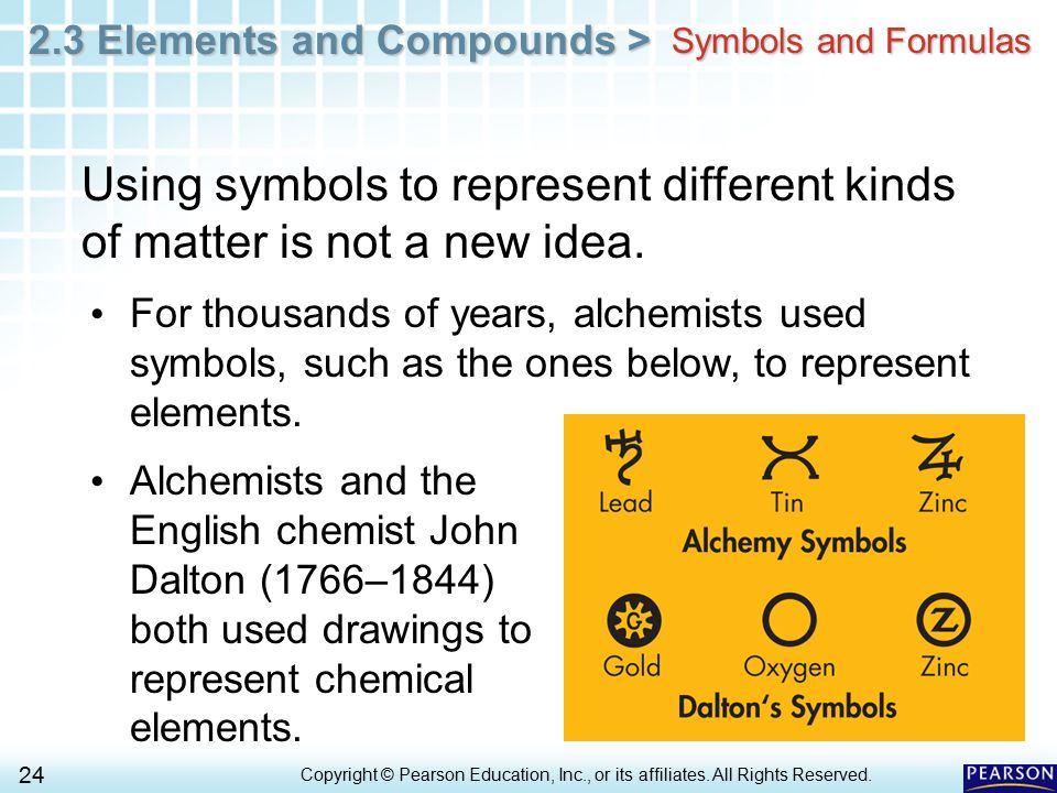 Symbols and Formulas Using symbols to represent different kinds of matter is not a new idea.