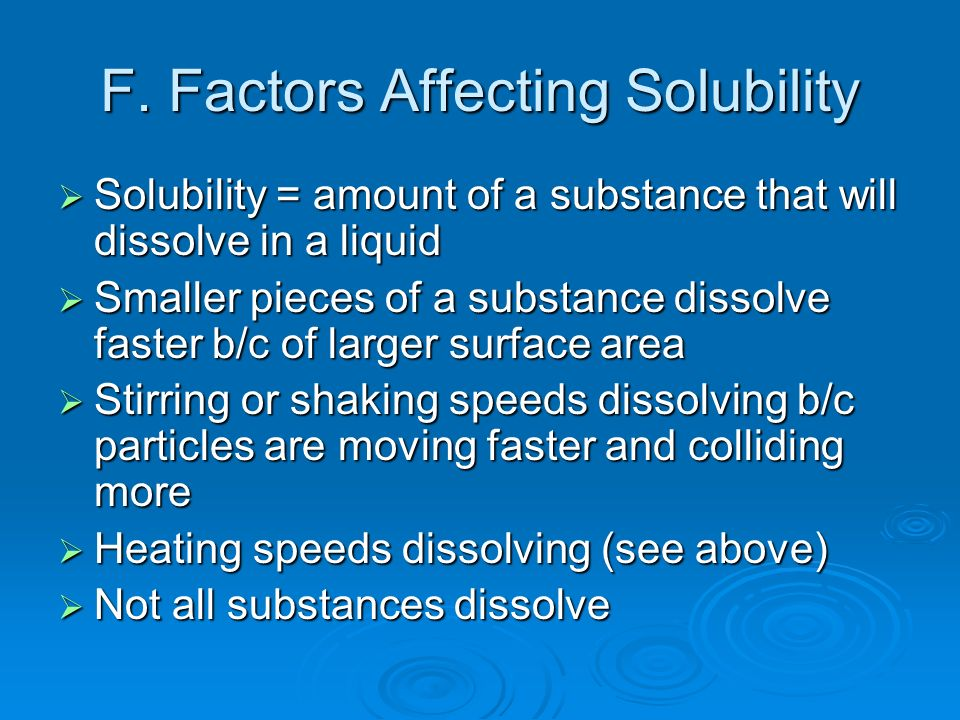 F. Factors Affecting Solubility