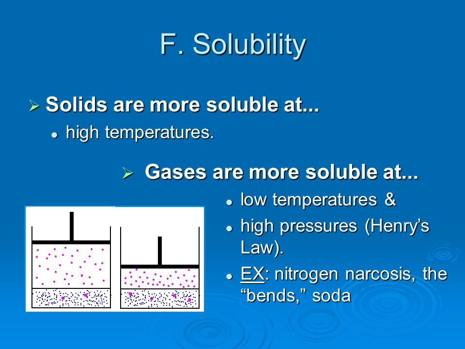 F. Solubility Solids are more soluble at...