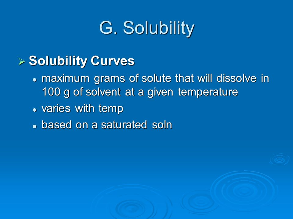 G. Solubility Solubility Curves
