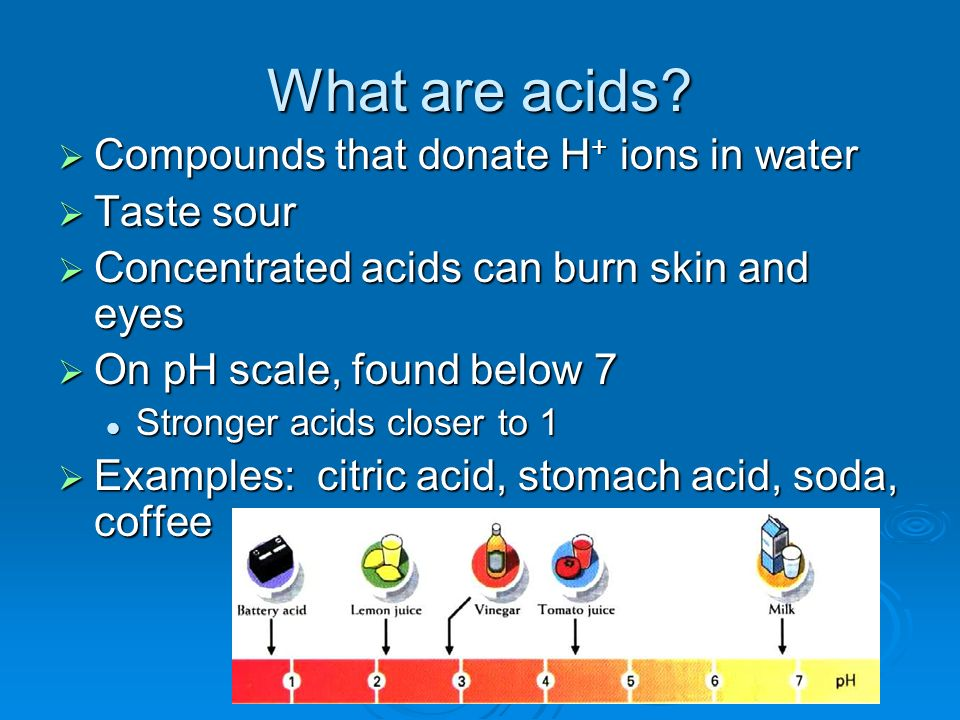 What are acids Compounds that donate H+ ions in water Taste sour