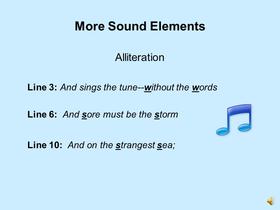 More Sound Elements Alliteration