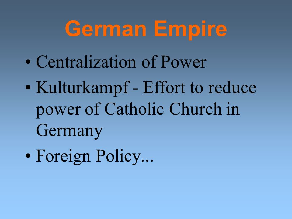 German Empire Centralization of Power