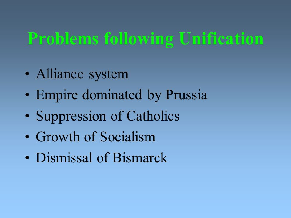 Problems following Unification