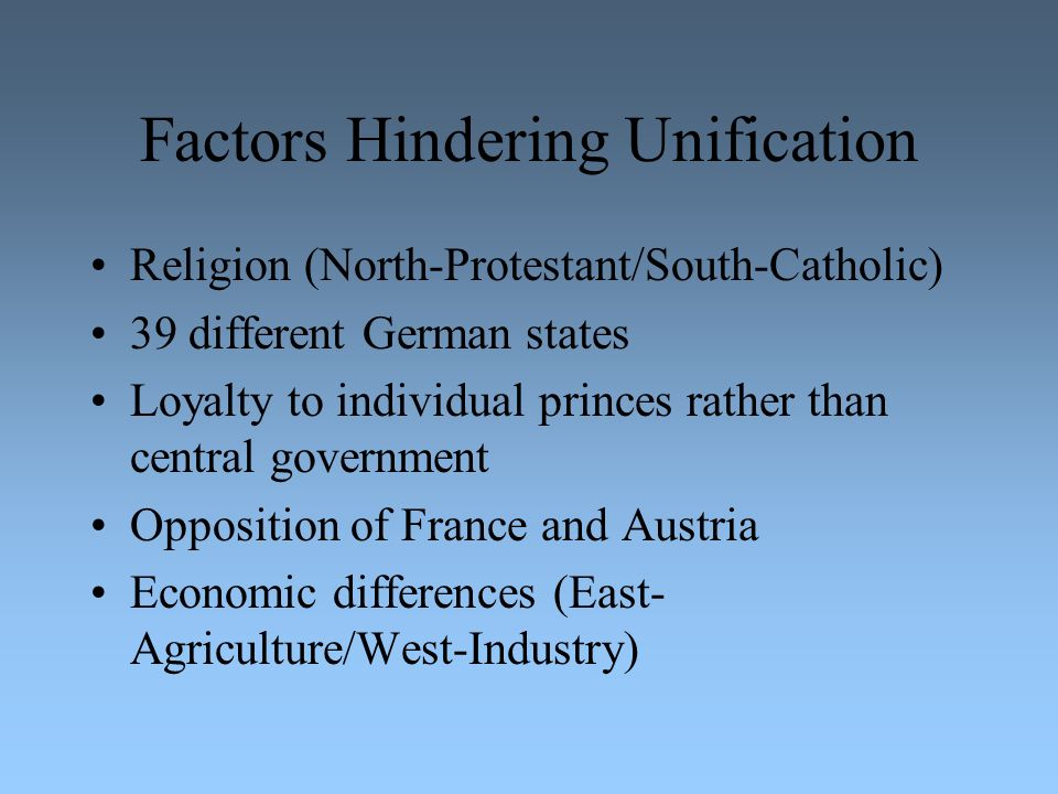 Factors Hindering Unification