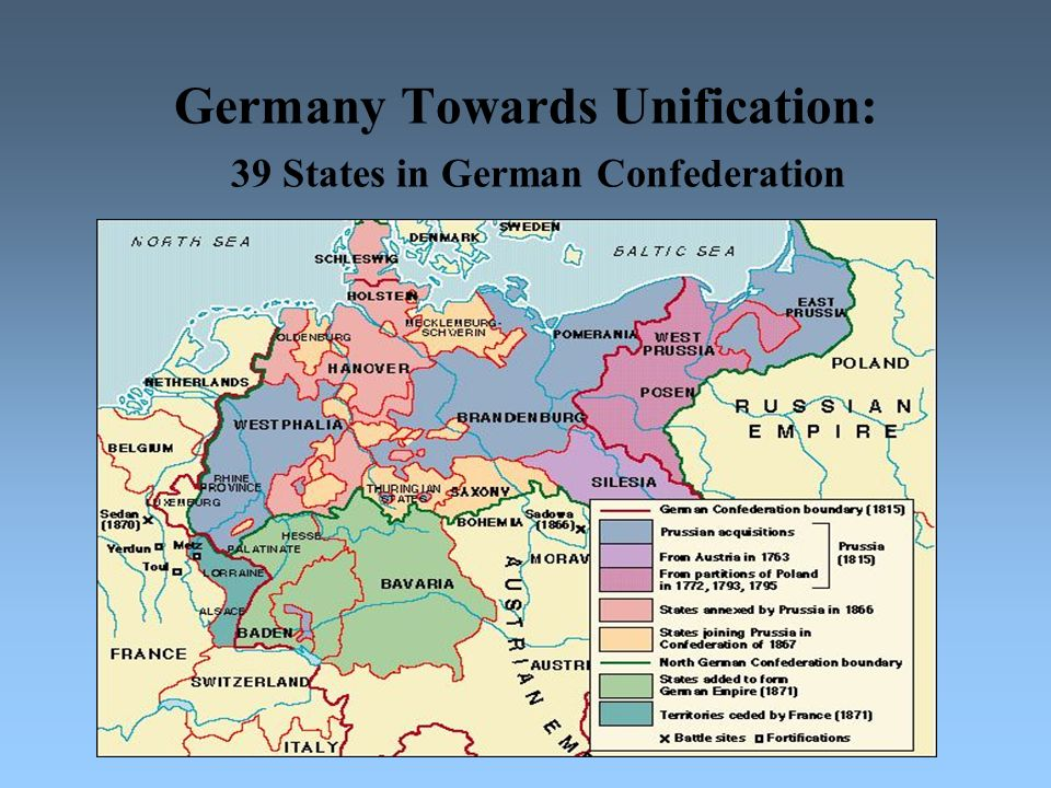Germany Towards Unification: 39 States in German Confederation