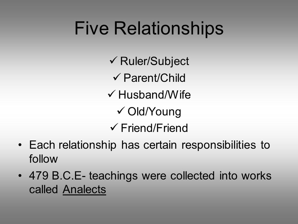 Five Relationships Ruler/Subject Parent/Child Husband/Wife Old/Young