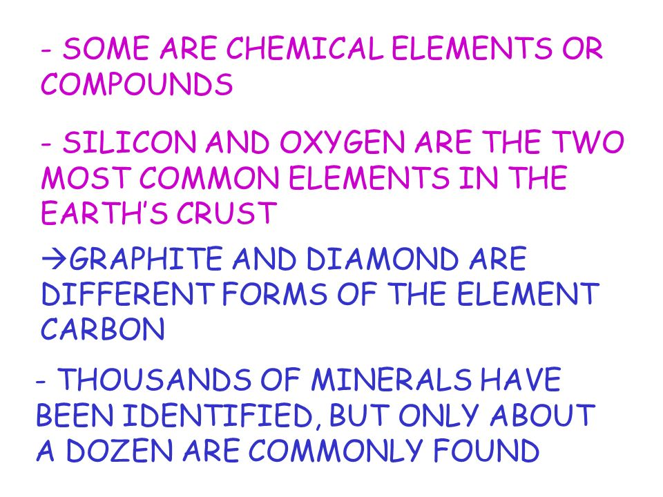 - SOME ARE CHEMICAL ELEMENTS OR COMPOUNDS