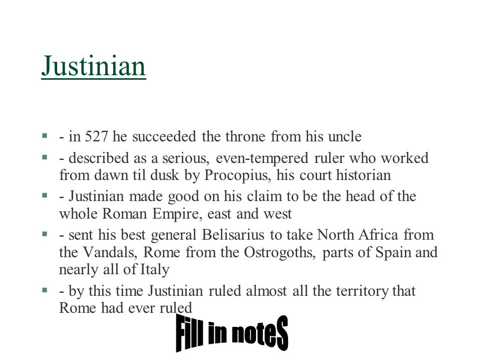 Justinian Fill in noteS