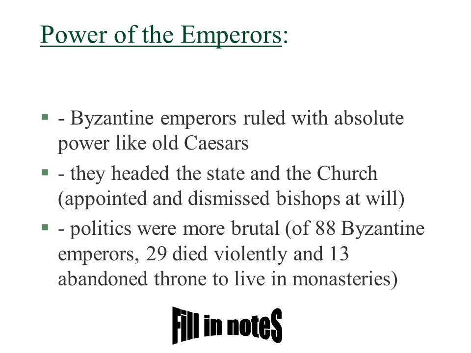Power of the Emperors: Fill in noteS