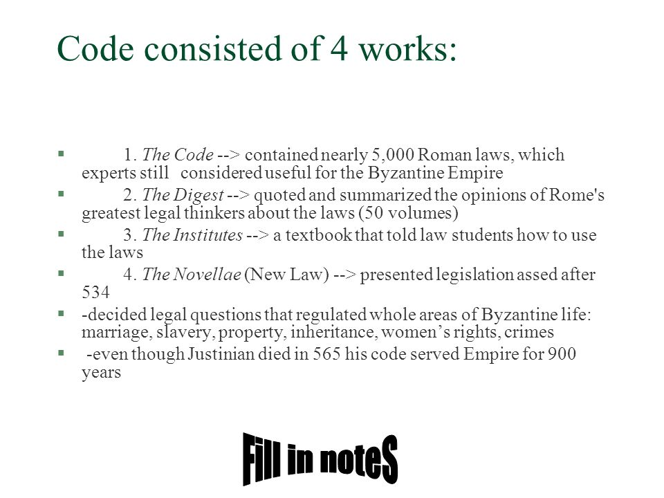 Code consisted of 4 works: