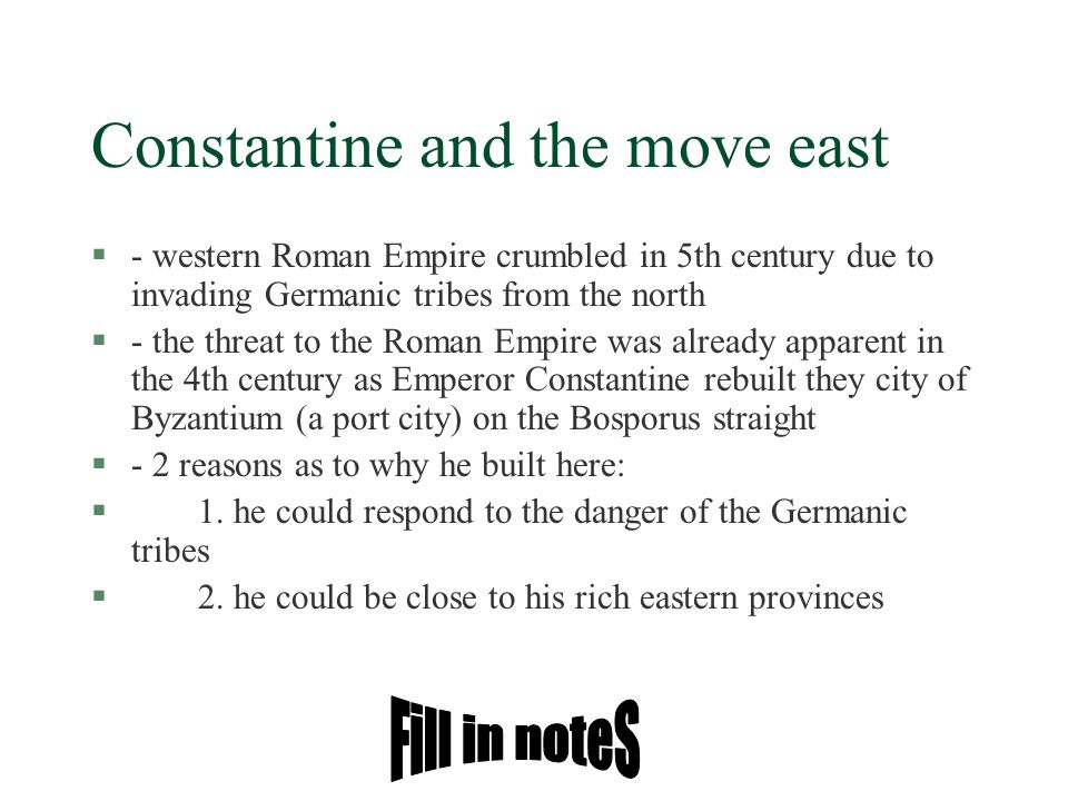 Constantine and the move east