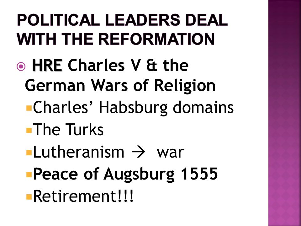 Political Leaders deal with the Reformation