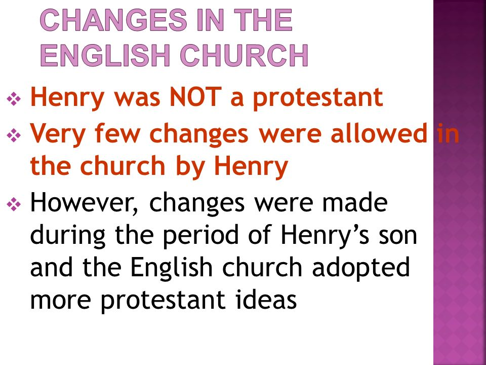 Changes in the English Church