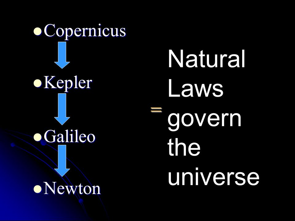 Natural Laws govern the universe
