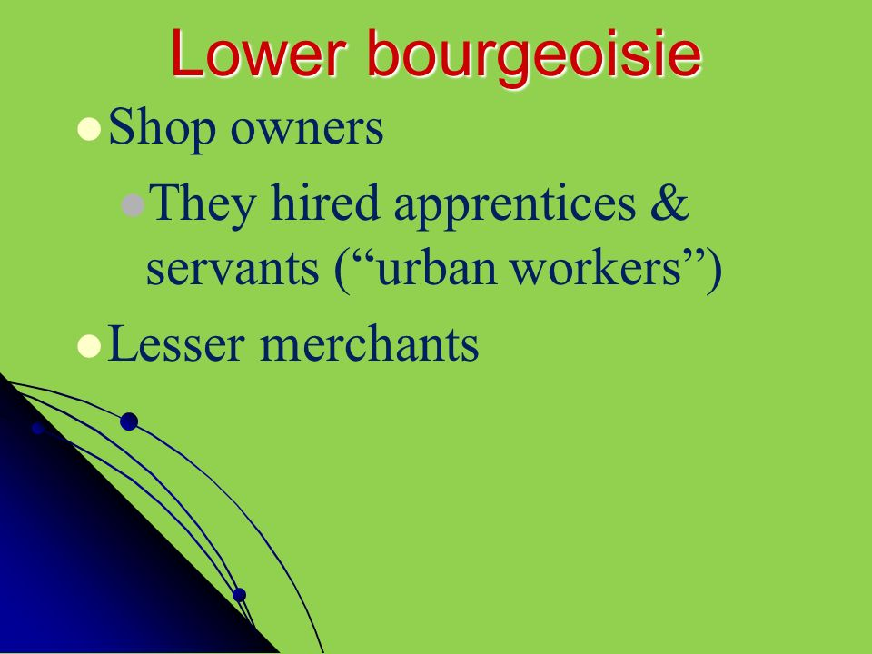 Lower bourgeoisie Shop owners