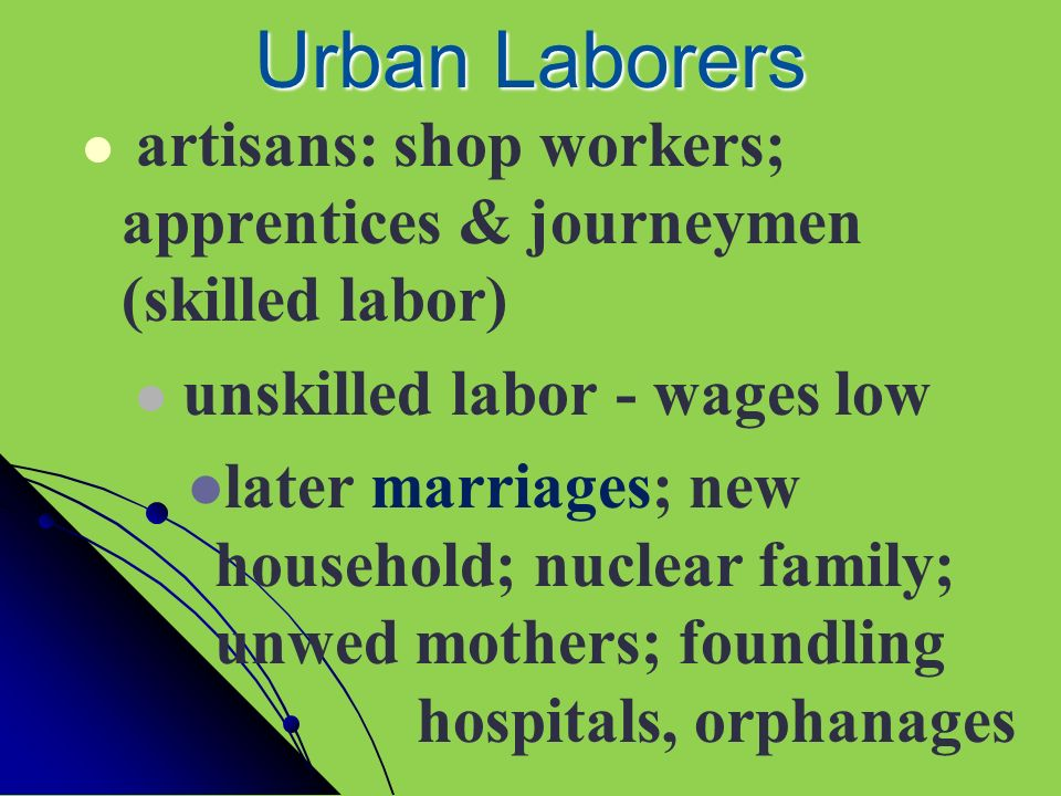 Urban Laborers artisans: shop workers; apprentices & journeymen (skilled labor) unskilled labor - wages low.
