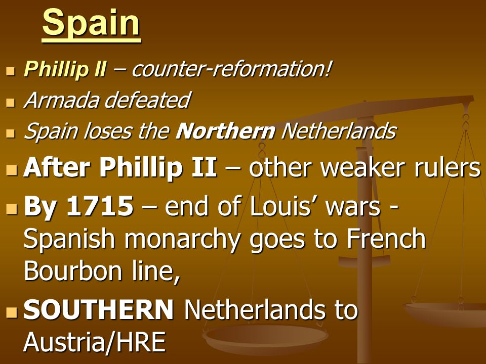 Spain After Phillip II – other weaker rulers