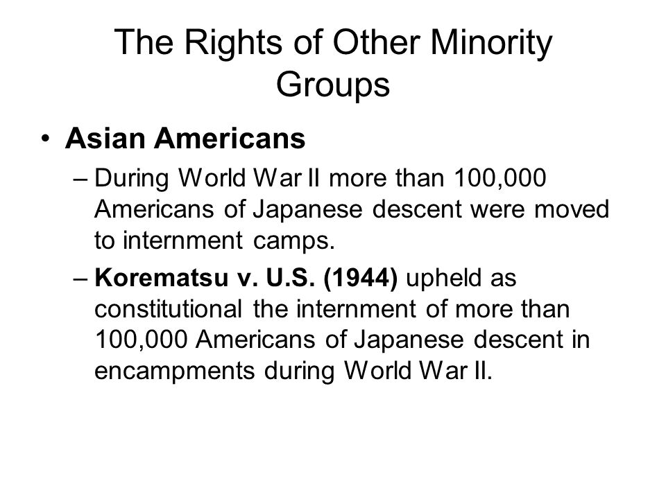 The Rights of Other Minority Groups