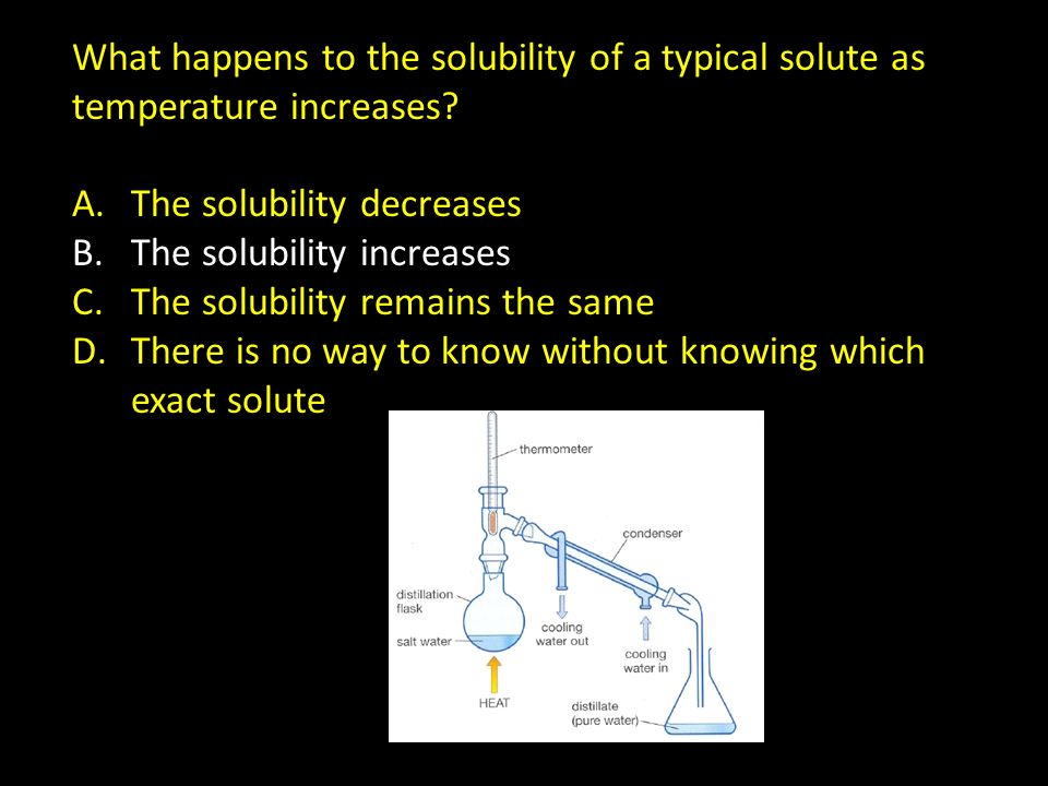 What happens to the solubility of a typical solute as temperature increases