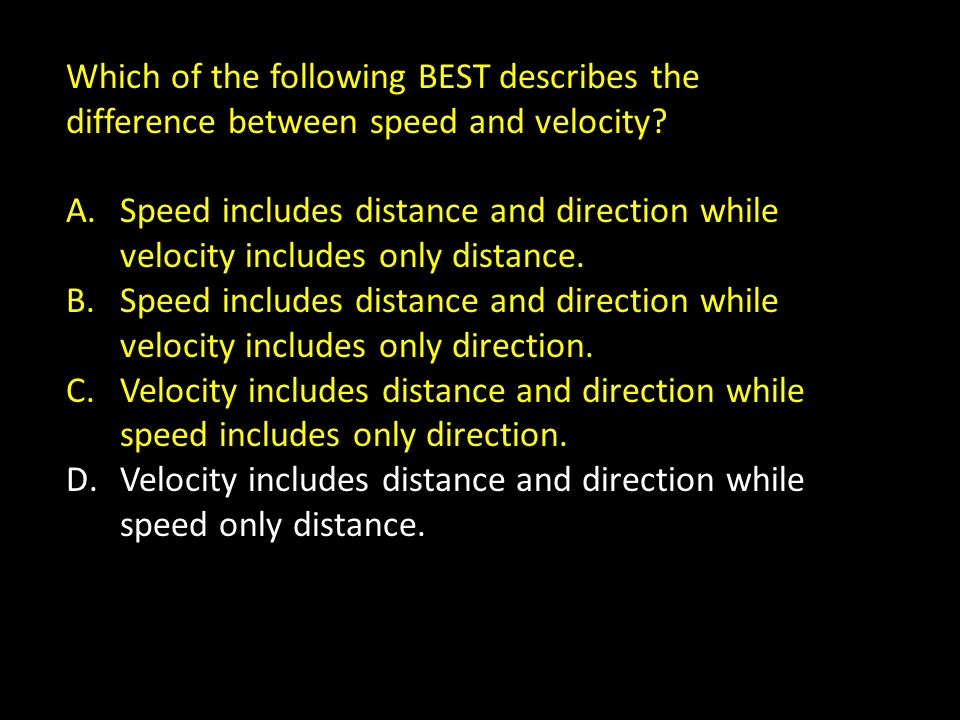 Which of the following BEST describes the difference between speed and velocity