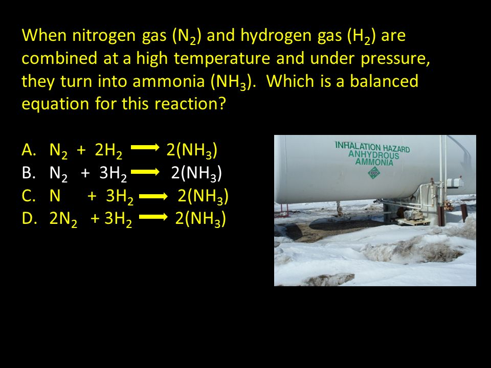 When nitrogen gas (N2) and hydrogen gas (H2) are combined at a high temperature and under pressure, they turn into ammonia (NH3). Which is a balanced equation for this reaction