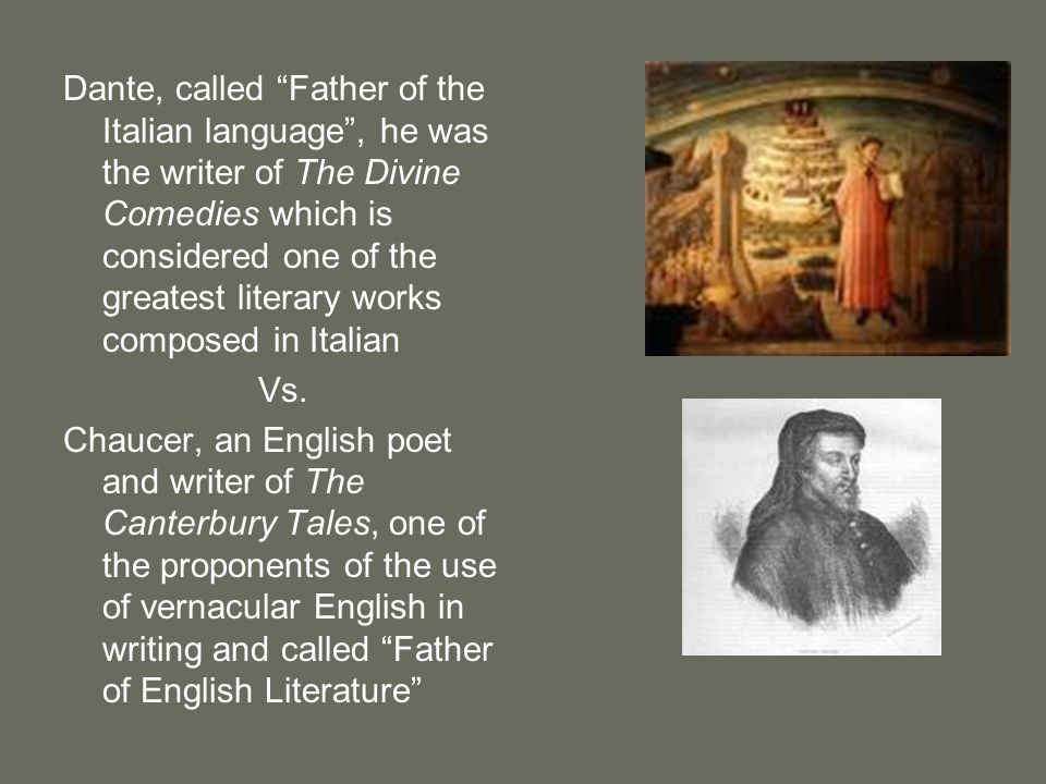Dante, called Father of the Italian language , he was the writer of The Divine Comedies which is considered one of the greatest literary works composed in Italian