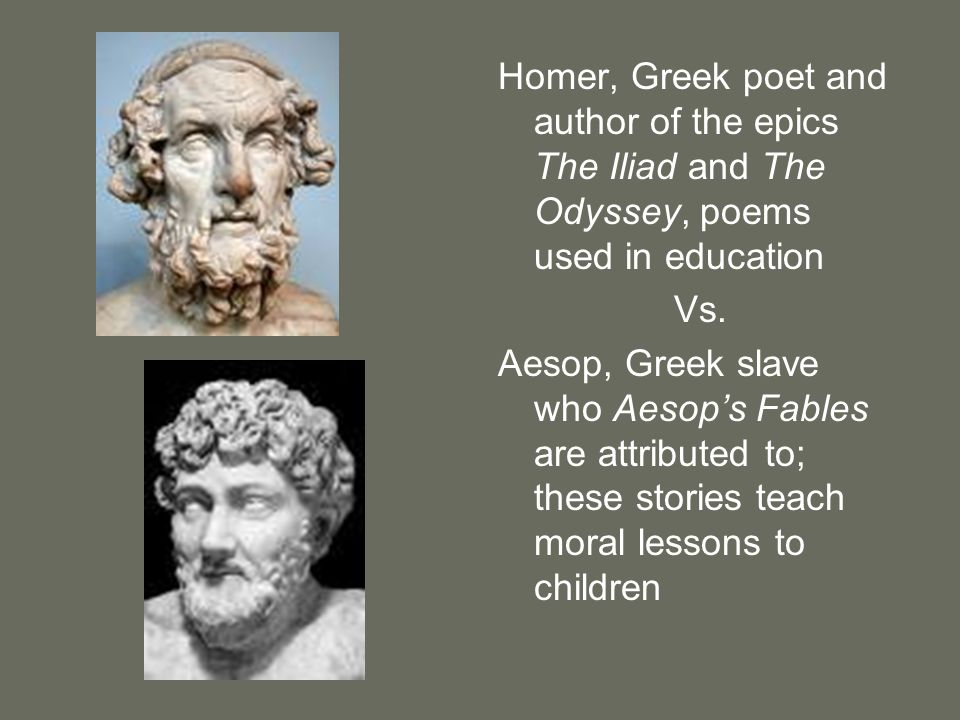 Homer, Greek poet and author of the epics The Iliad and The Odyssey, poems used in education
