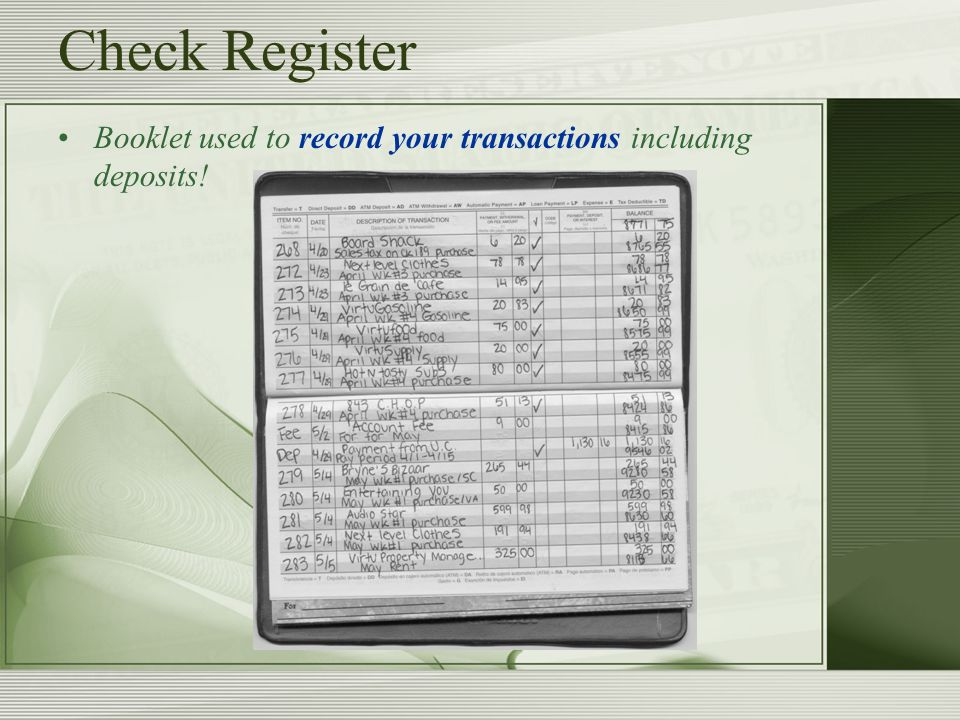 electronic check register