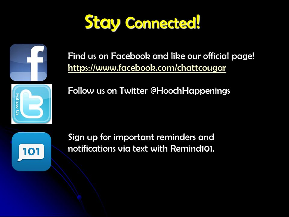 Stay Connected! Find us on Facebook and like our official page!