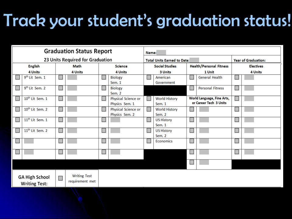 Track your student's graduation status!