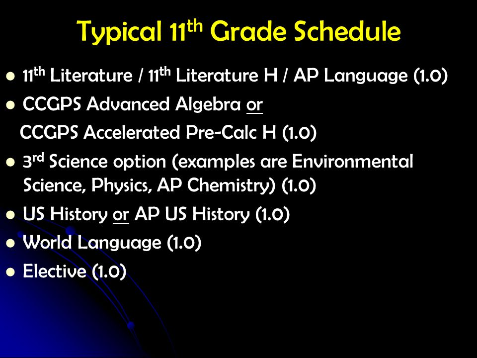 Typical 11th Grade Schedule