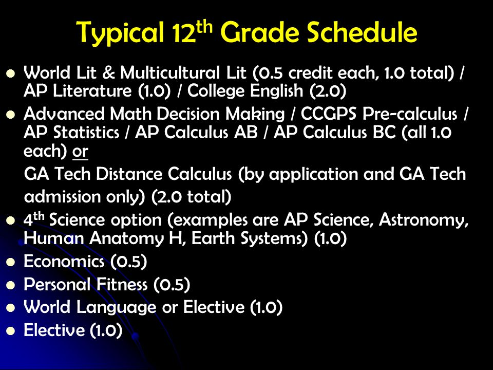 Typical 12th Grade Schedule