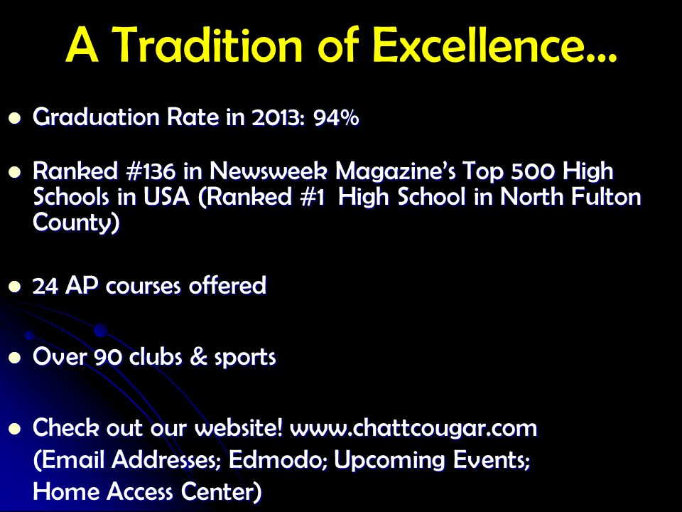 A Tradition of Excellence…