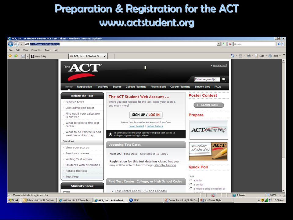 Preparation & Registration for the ACT