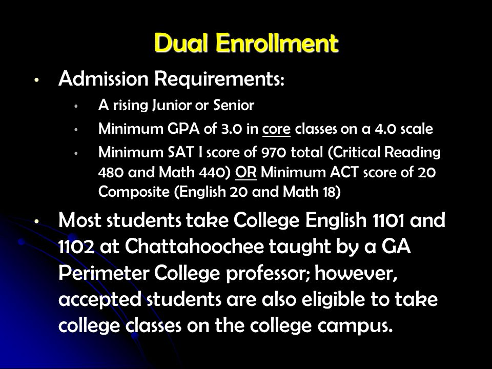Dual Enrollment Admission Requirements: