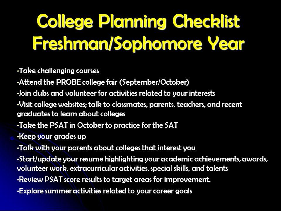 College Planning Checklist Freshman/Sophomore Year