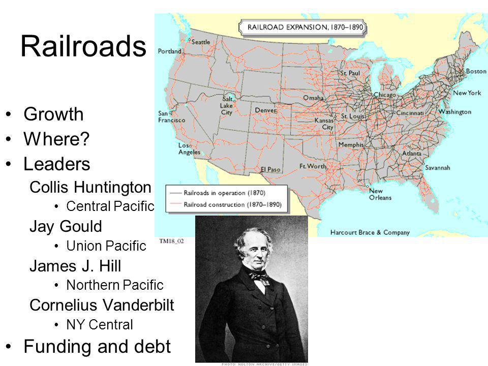 Railroads Growth Where Leaders Funding and debt Collis Huntington