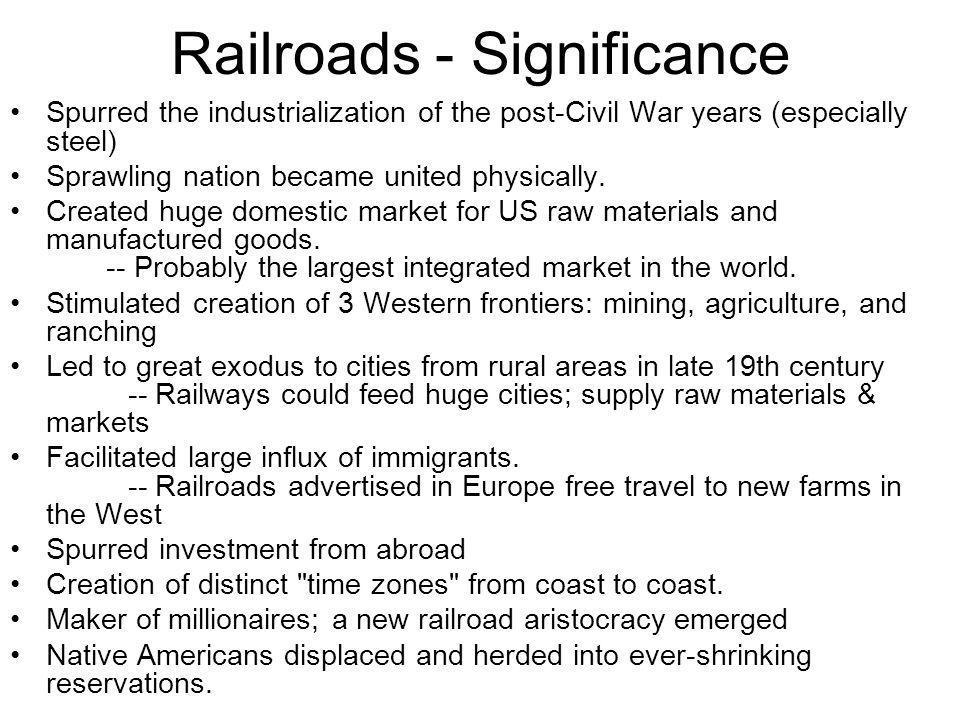 Railroads - Significance